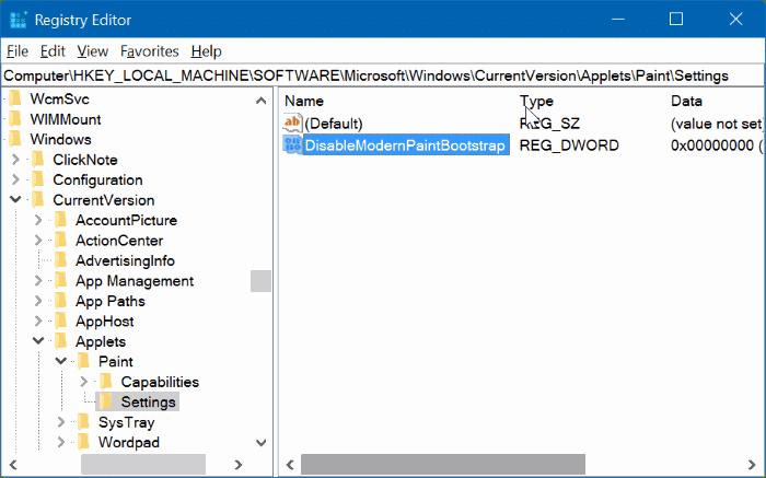 enable classic paint program in Windows 10 Creators Update pic04