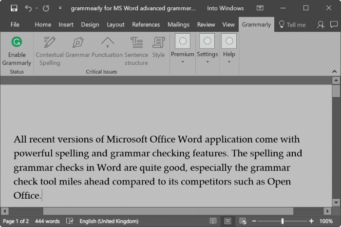 grammarly advanced grammer checker for Word pic2