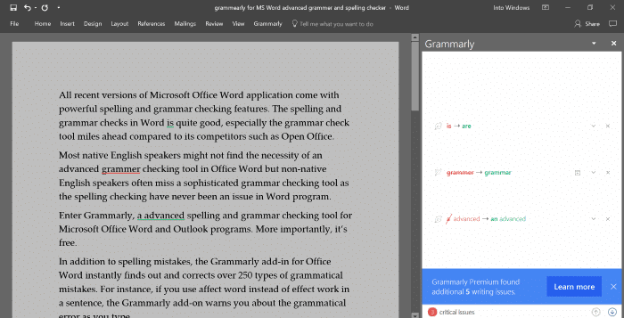 grammarly advanced grammer checker for Word