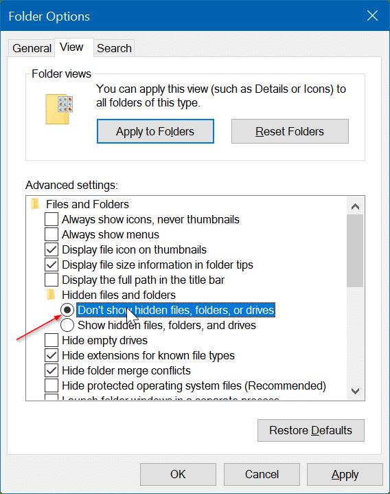 how do you view hidden folders in windows 10