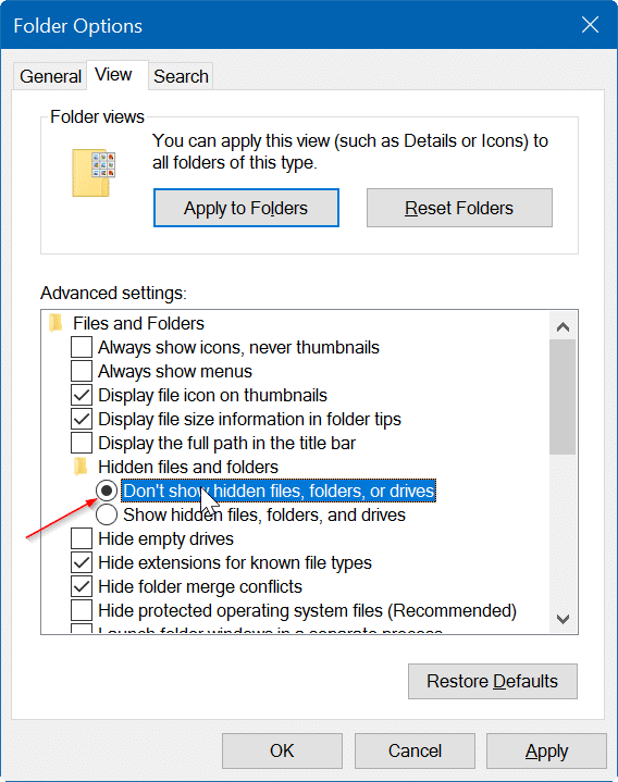 hide file and folders in Windows 10 pic5