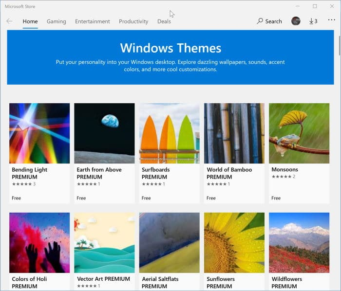 install Windows 10 themes from Store pic2