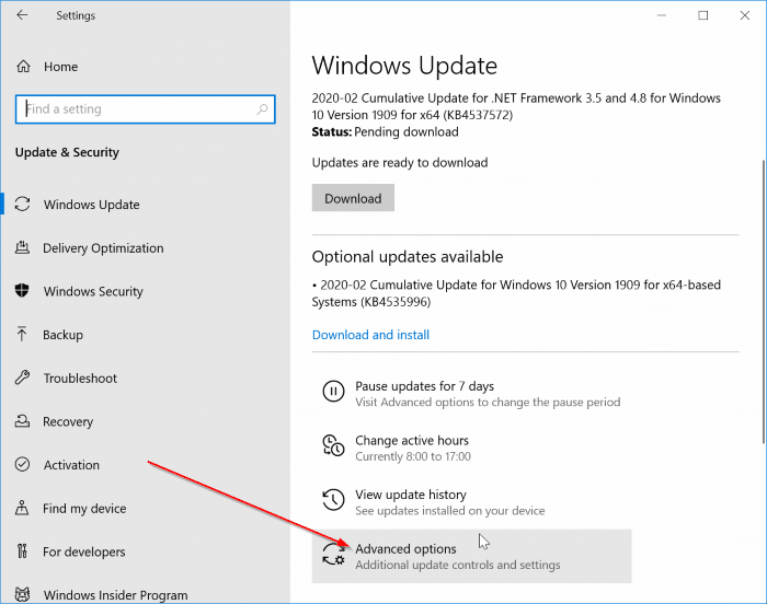 pause updates in Windows 10 pic1