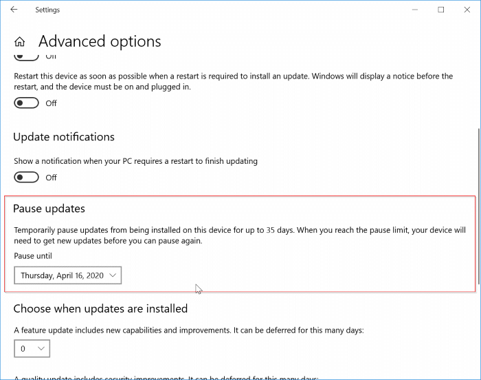pause updates in Windows 10 pic2