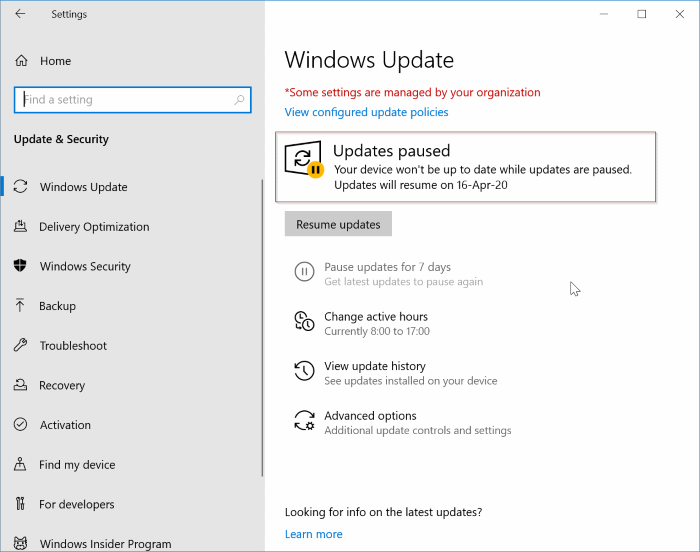 pause updates in Windows 10 pic3