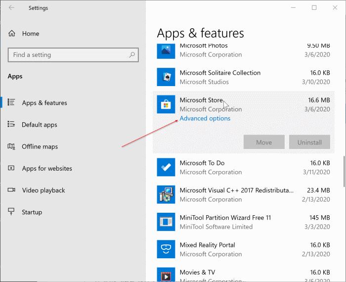 reset Windows 10 Store app pic1