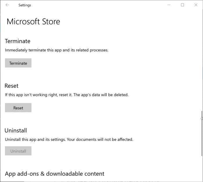 reset Windows 10 Store app pic2