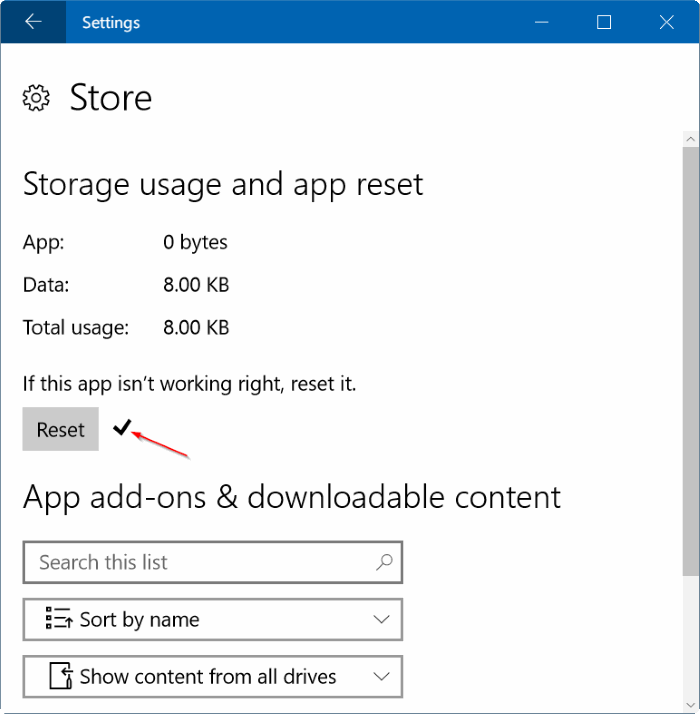 reset Windows Store in Windows 10 pic7