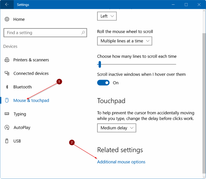 reset touchpad settings Windows 10 pic1