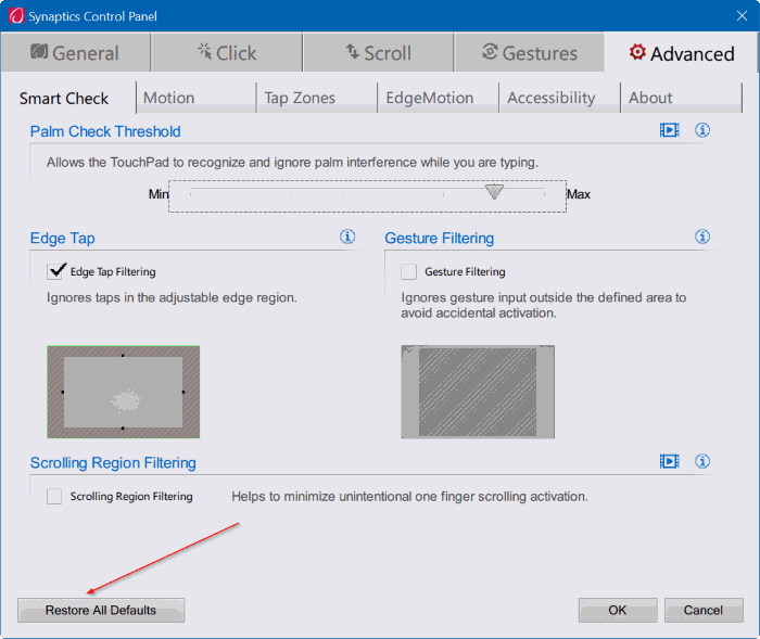 reset touchpad settings Windows 10 pic3