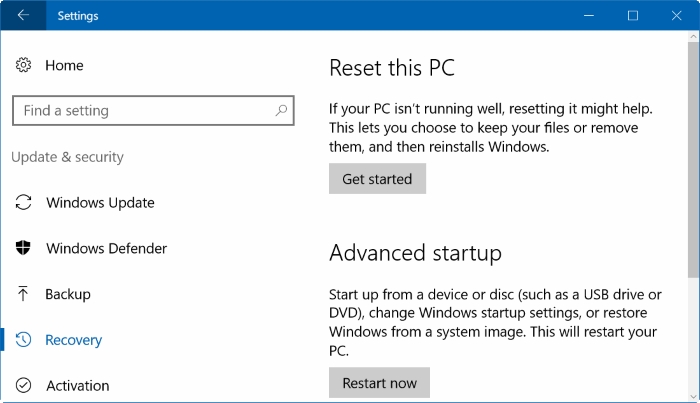 reset windows registry in Windows 10 pic1