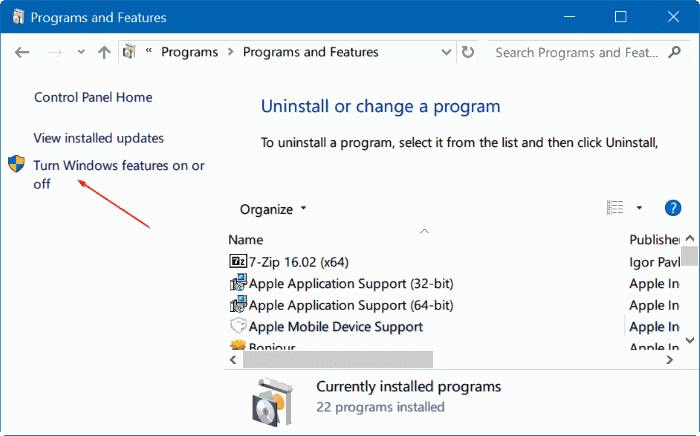 turn Windows 10 features on or off pic04