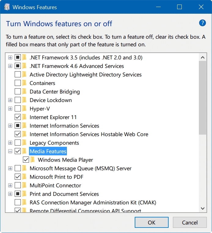 turn Windows 10 features on or off pic05