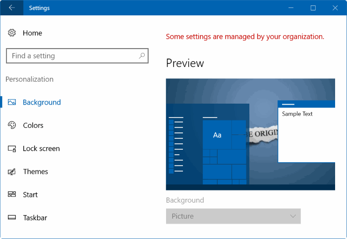 unable to change desktop background in Windows 10 pic1