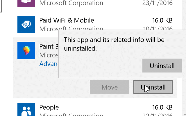 uninstall or reinstall Paint 3D Windows 10 pic3.1