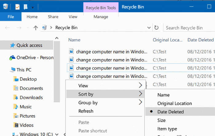 view recently deleted files in Windows 10 step2