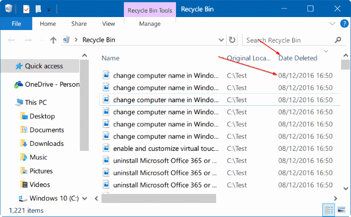 view recently deleted files in Windows 10 step3