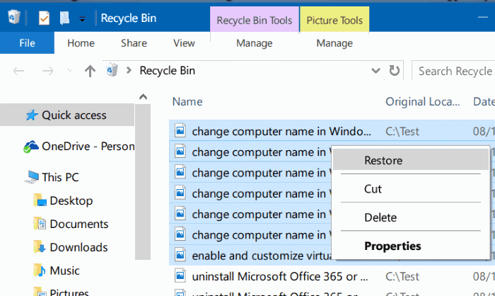 view recently deleted files in Windows 10 step4