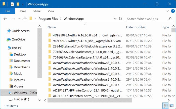 access windowsapps folder in windows 10