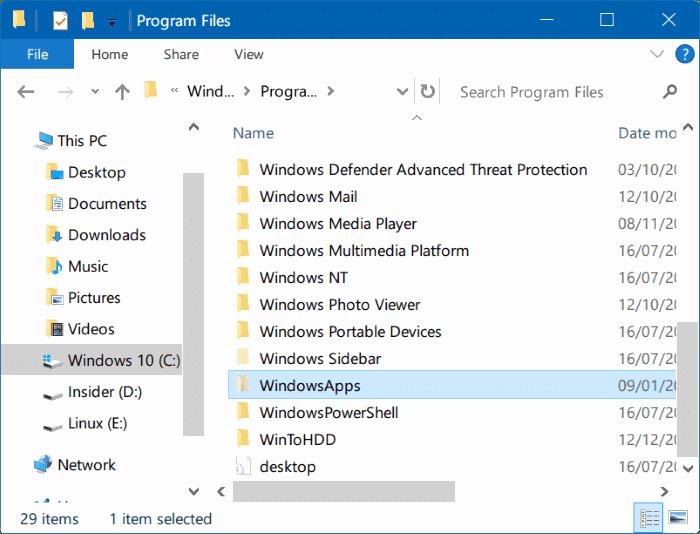 access windowsapps folder in Windows 10 pic3