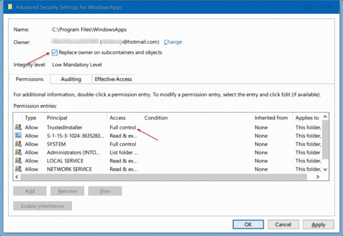 access windowsapps folder in Windows 10 pic7.3