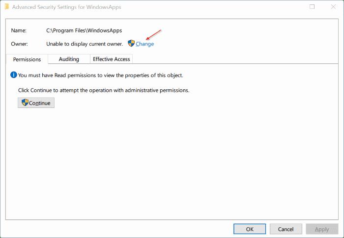 access windowsapps folder in Windows 10 pic7