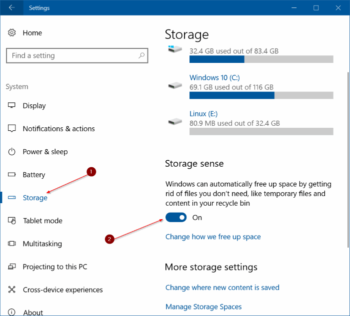 automatically free up disk space in Windows 10 pic1