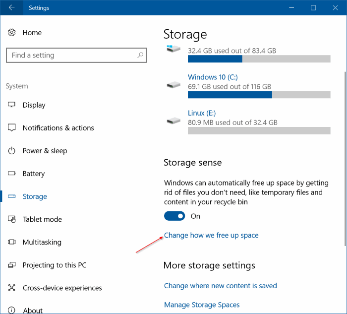 automatically free up disk space in Windows 10 pic2