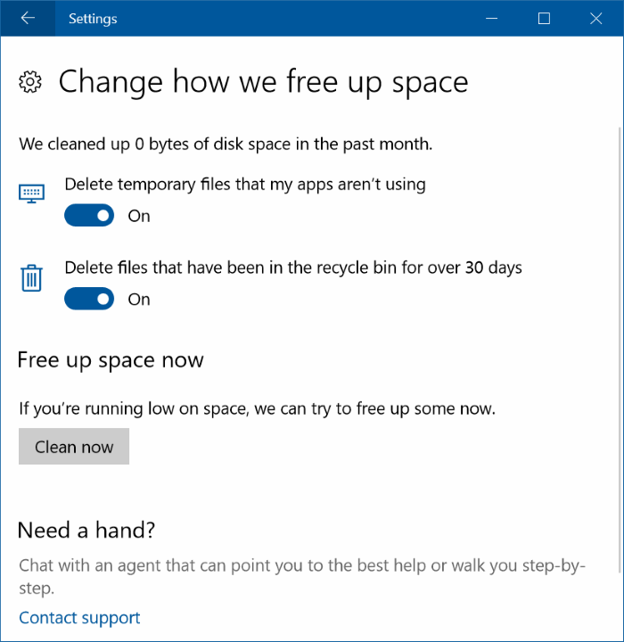 automatically free up disk space in Windows 10 pic3