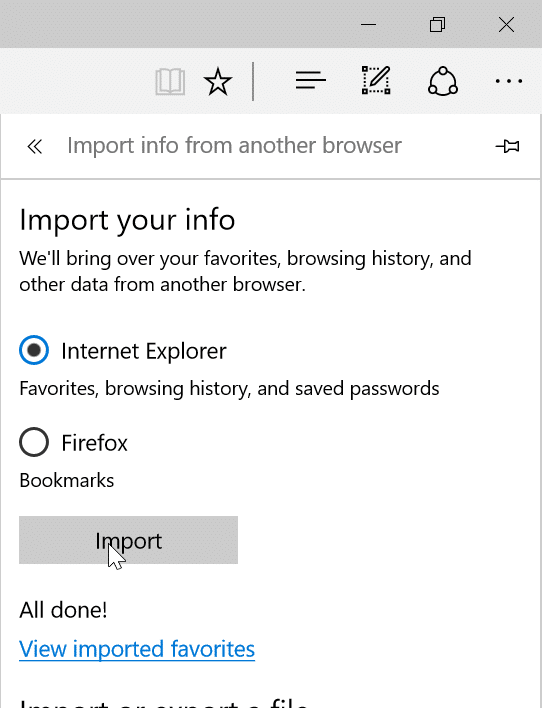 import passwords from Internet Explorer to Edge pic4