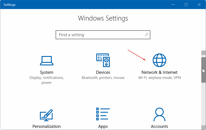 set ethernet connection as metered in Windows 10 pic1