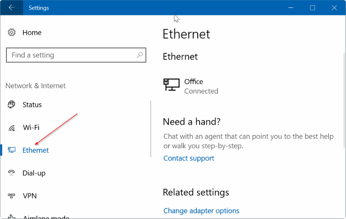set ethernet connection as metered in Windows 10 pic2
