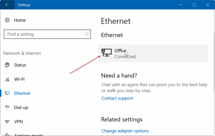 set ethernet connection as metered in Windows 10 pic3