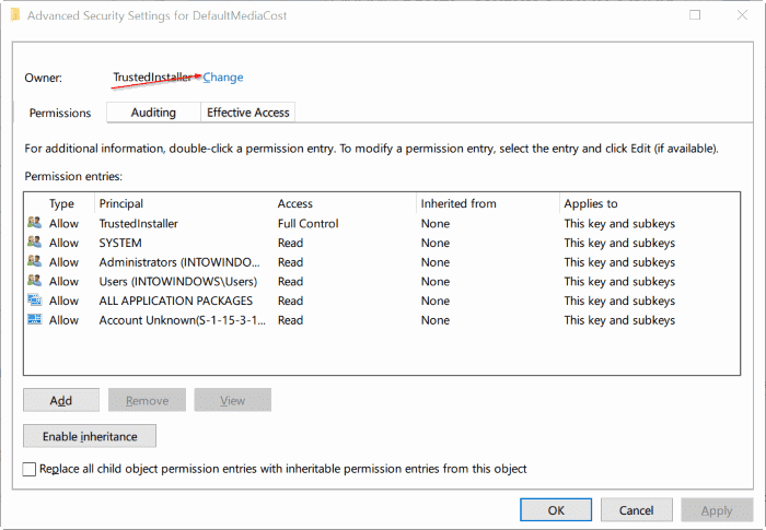 take ownership of Registry in Windows 10 pic4