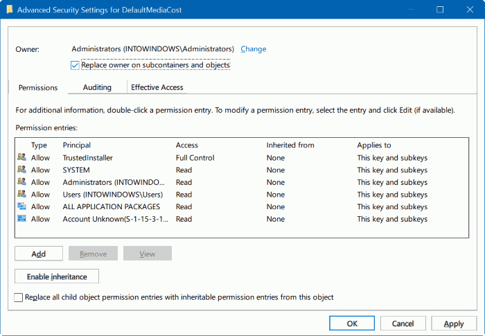 take ownership of Registry in Windows 10 pic7