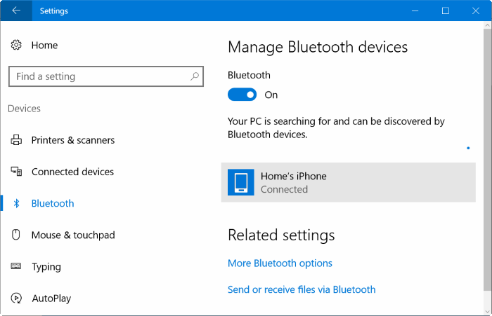 Pair iphone with Windows 10 via Bluetooth (1)