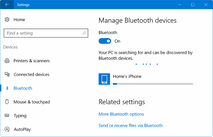 Pair iphone with Windows 10 via Bluetooth (2)