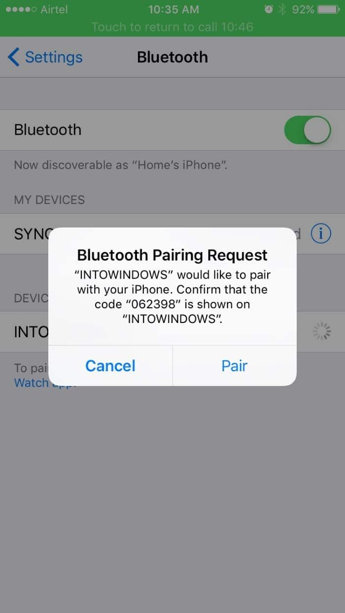 Pair iphone with Windows 10 via Bluetooth pic4