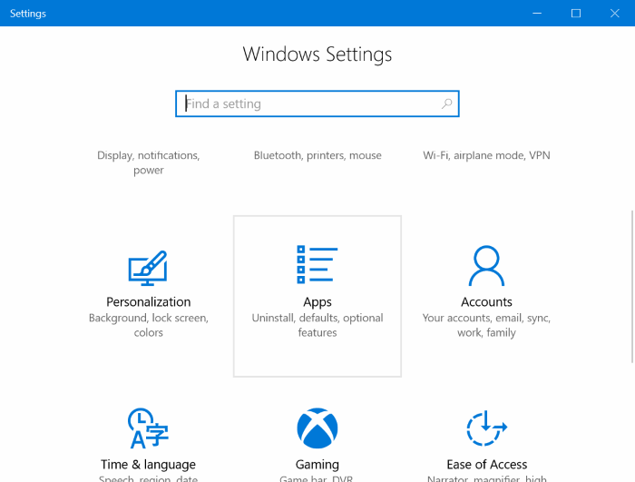 Apps & Features And Default Apps In Windows 10 Creators Update