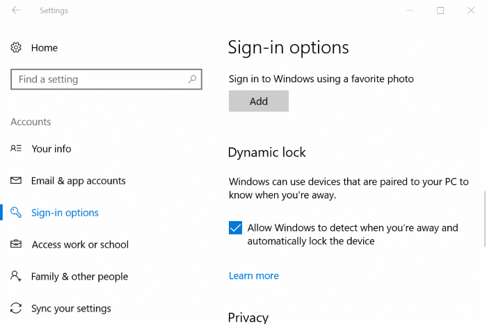 automatically lock Windows 10 PC when you walk away pic1