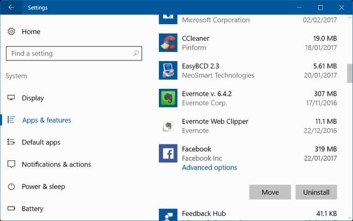 reset facebook app in windows 10