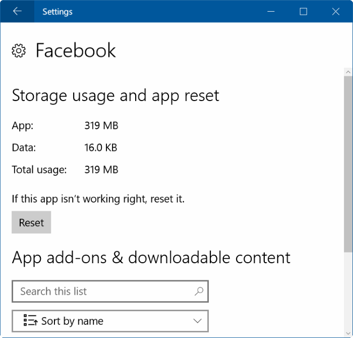 reset facebook app in Windows 10 pic2