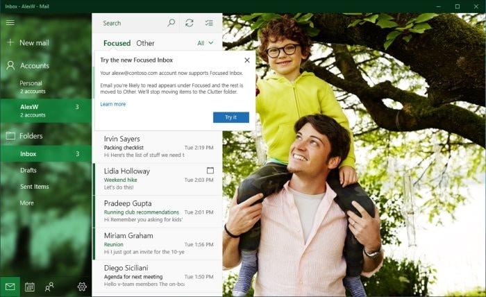 turn off focussed inbox in windows 10 mail
