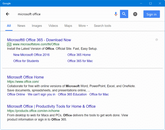 Google search app for Windows 10 pic3