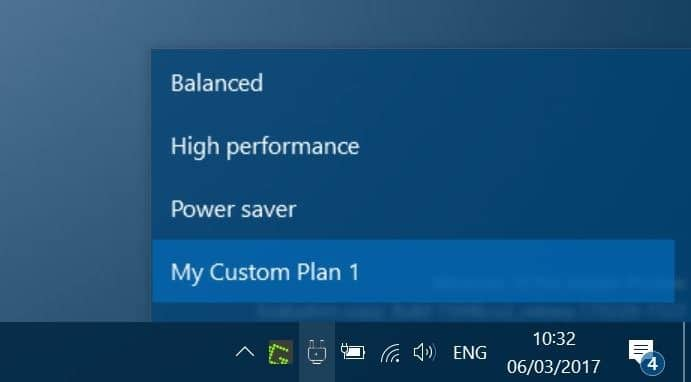 Power Plan Switcher switch power plan from taskbar in Windows 10 pic1