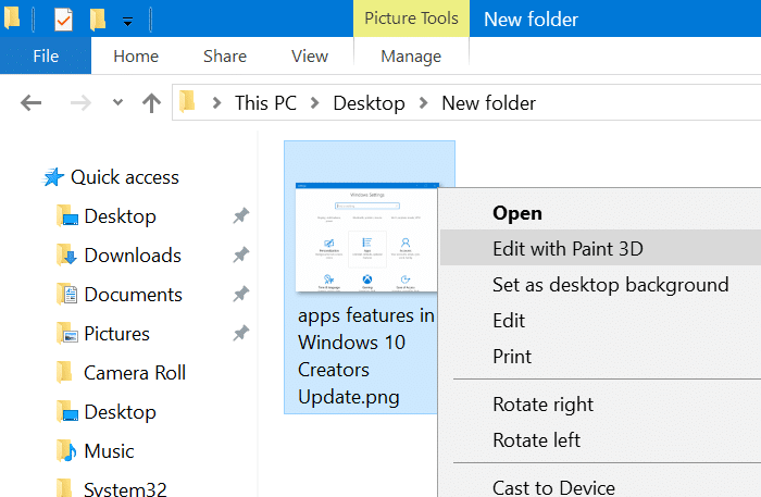 remove edit with paint 3d option from context menu in windows 10