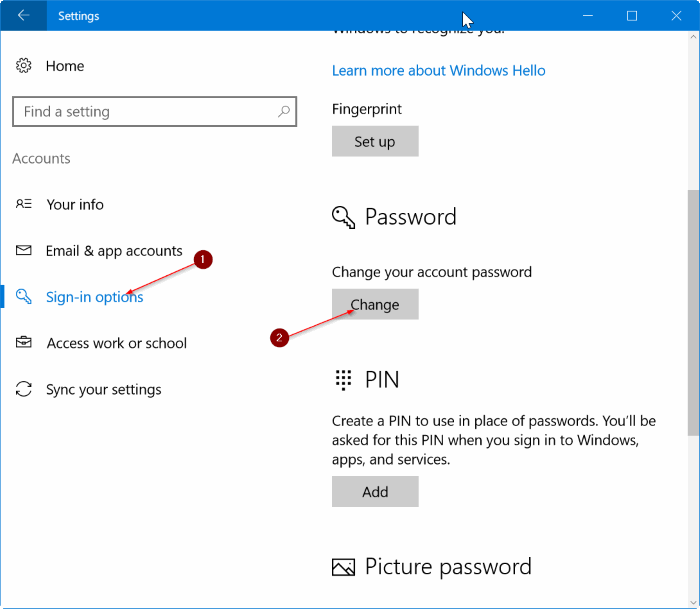 Remove user account password in Windows 10 pic1