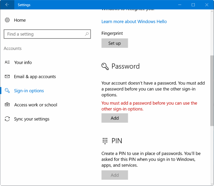 Remove user account password in Windows 10 pic5