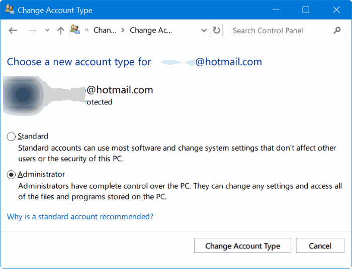 change standard user account to admin account in Windows 10 pic1