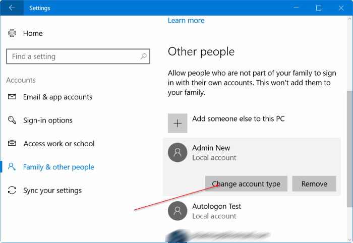 create a new administrator account in Windows 10 pic5